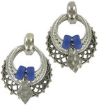 Antiqued Silver Tone Blue Boho Door Knocker Earrings