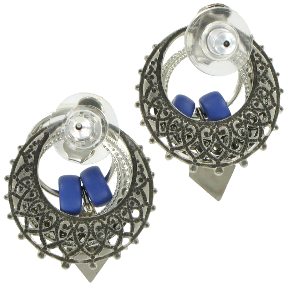 Antiqued Silver Tone Blue Boho Door Knocker Earrings Thumbnail 2