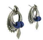 Antiqued Silver Tone Blue Boho Door Knocker Earrings Thumbnail 3
