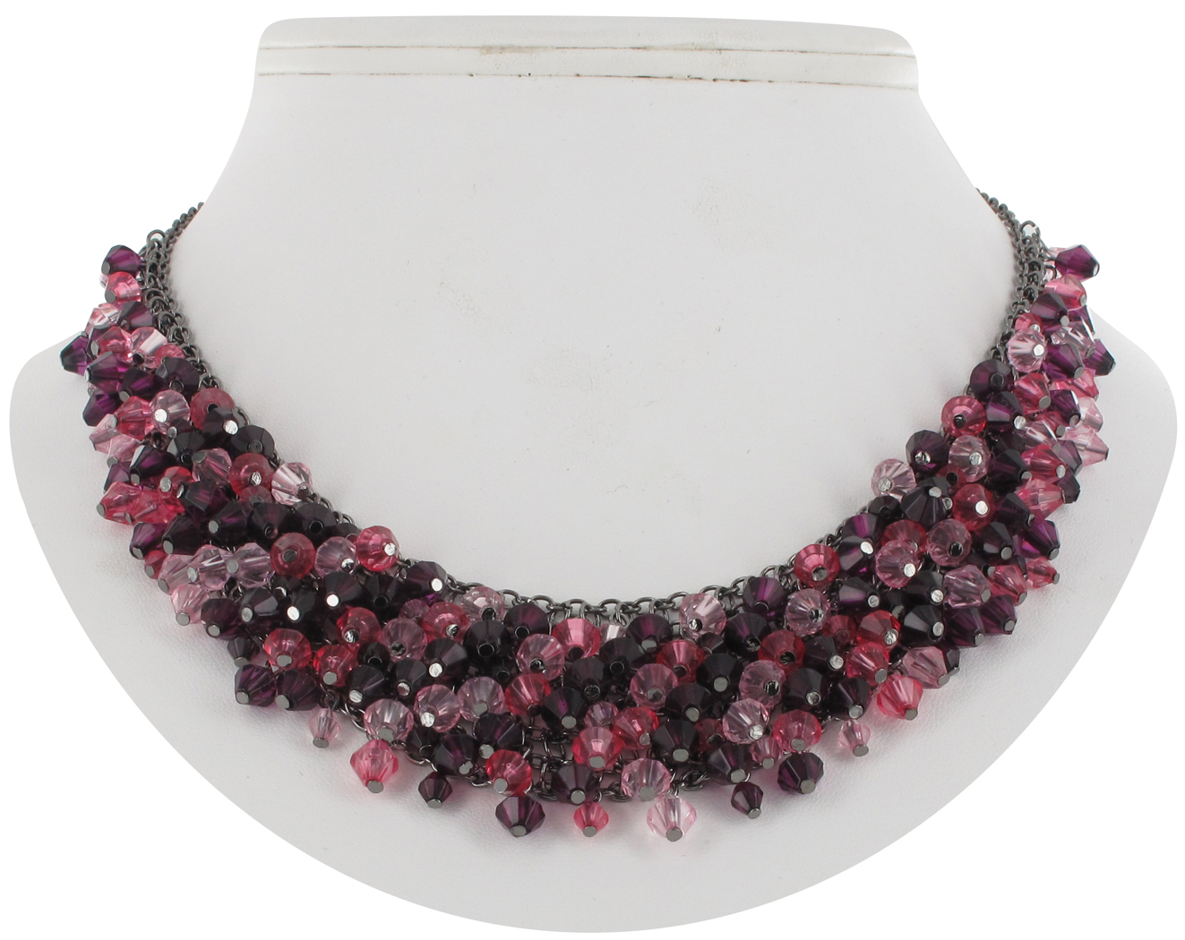 Garnet Pink Fringe Faux Crystal Beaded Bib Collar Close Fitting Necklace
