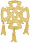 Pin Brooch Yellow Gold Tone Celtic Cross Tassel Tassle
