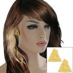 "Clip On Earrings Yellow Gold Tone Button Large Big Lightweight Triangle 1"" Thumbnail 1"