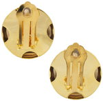"Clip On Earrings Yellow Gold Tone Button Lightweight Round 7/8"" Thumbnail 3"