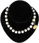 Vintage 1950S Laguna Faux Pearl Black Accents Beaded Necklace