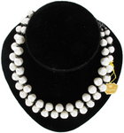 Vintage Laguna Faux Pearl Black Accents 2 Strand Beaded Necklace