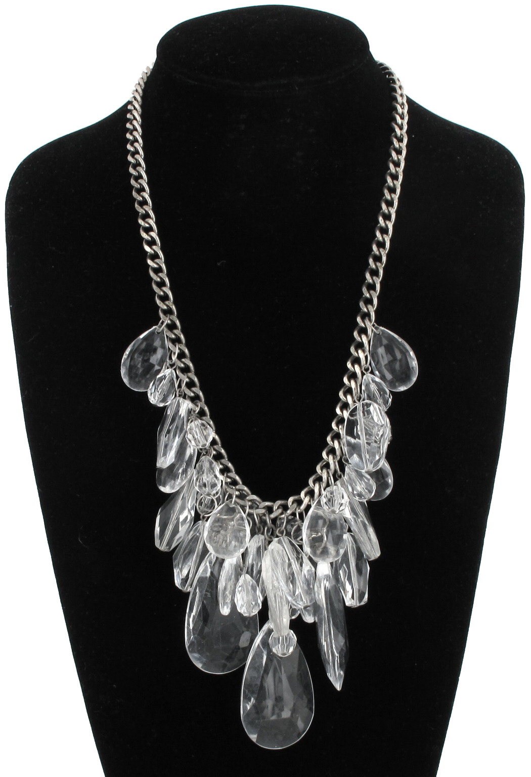 Clear Ice Look Faux Crystal Big Fringe Faceted Beads Statement Necklace