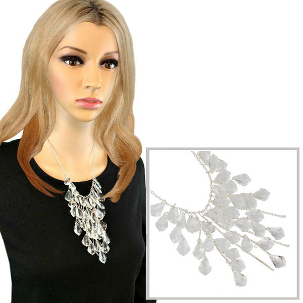 Clear Ice Look Faux Crystal Silver Tone Fringe Faceted Beads Statement Necklace