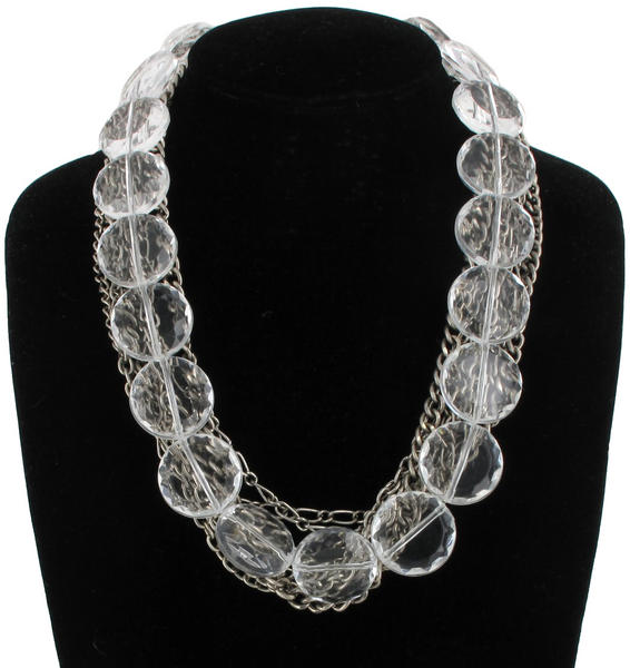 Silver Tone Chain Link Clear Faceted Beads Mixed Materials Statement Necklace