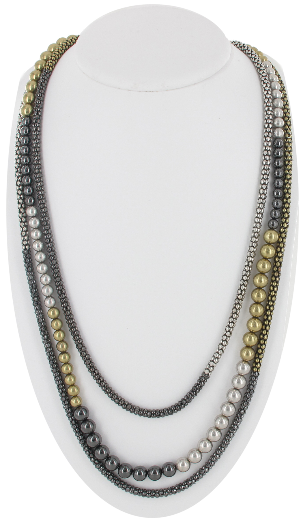 Silver Gold Tone Gunmetal Mesh Beads Multi Strand Long Necklace