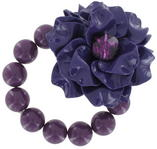 Big Chunky Purple Flower Lucite Rhinestone Beaded Stretch Bracelet