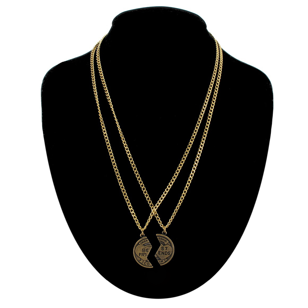 Pendant Bff Necklace Set Friendship Coin Best Friends Gold Tone Thumbnail 2