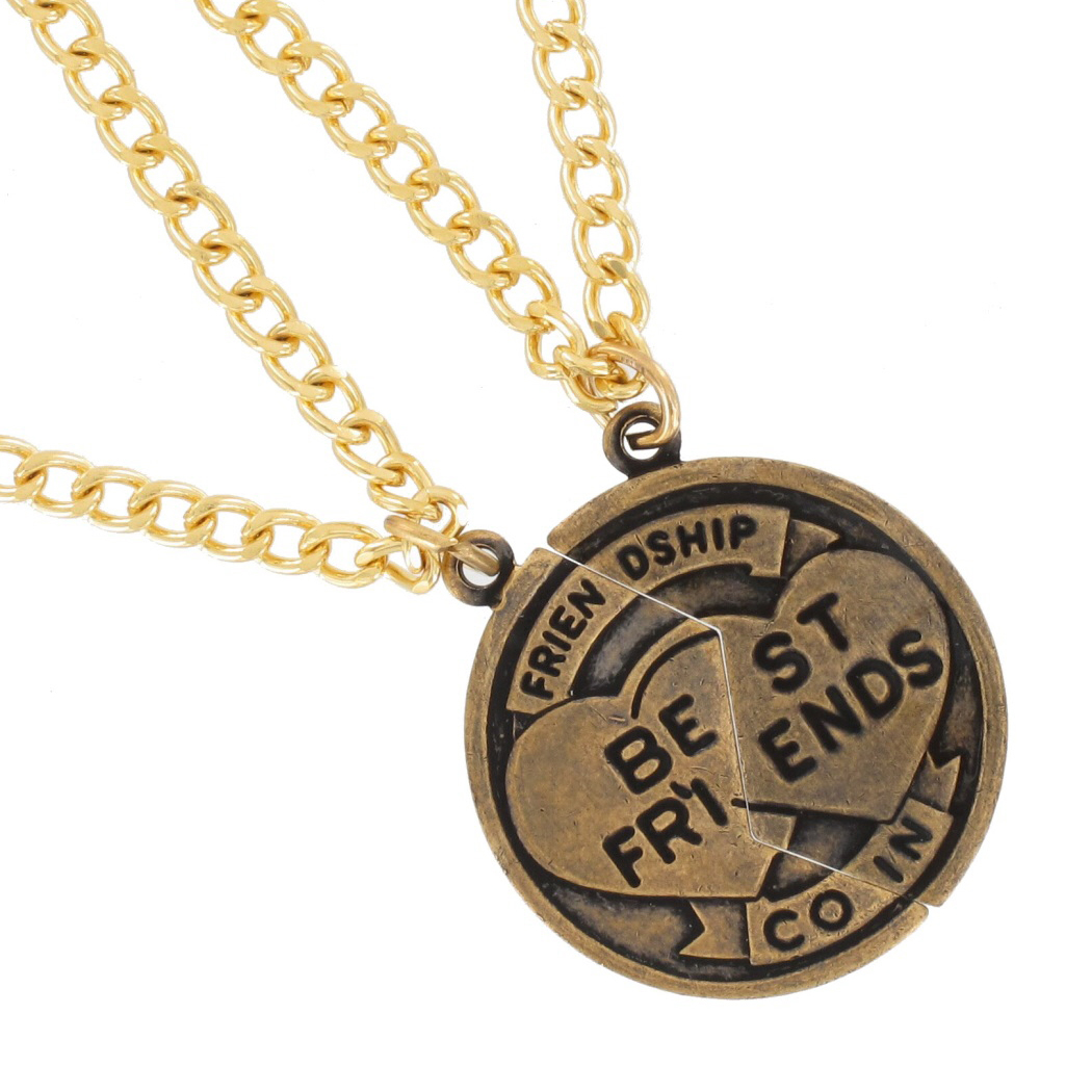 Pendant Bff Necklace Set Friendship Coin Best Friends Gold Tone Thumbnail 4