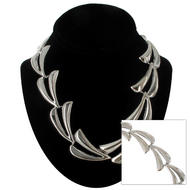 "Ky & Co Oversized Abstract Leaf Link Collar Necklace Silver Tone USA Made 17 1/2"" Thumbnail 1"
