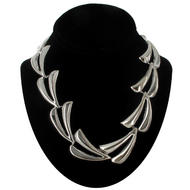 "Ky & Co Oversized Abstract Leaf Link Collar Necklace Silver Tone USA Made 17 1/2"" Thumbnail 2"