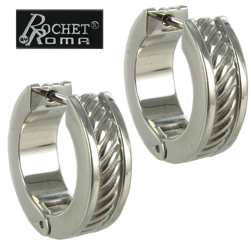 9f679c82b1d24 Rochet Hoop Earrings Mens Stainless Steel Heavy Cable Design