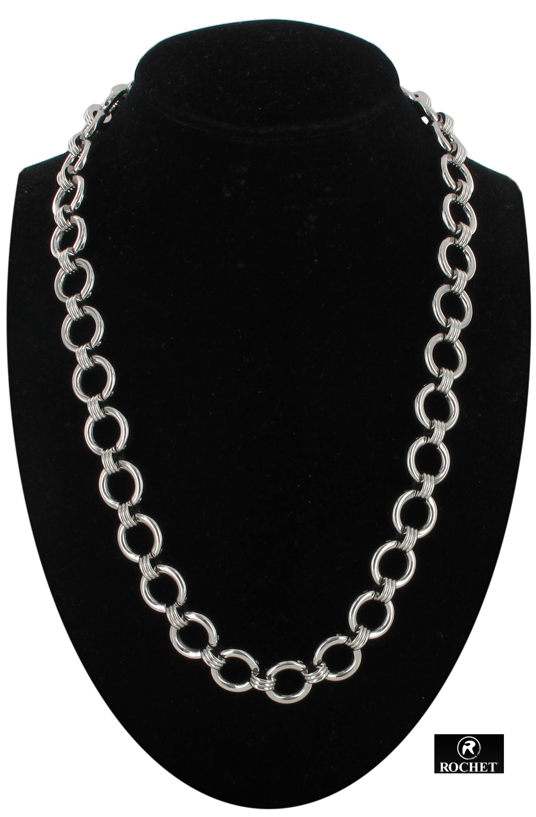 Rochet Mens Chain Link Necklace Stainless Steel Circles