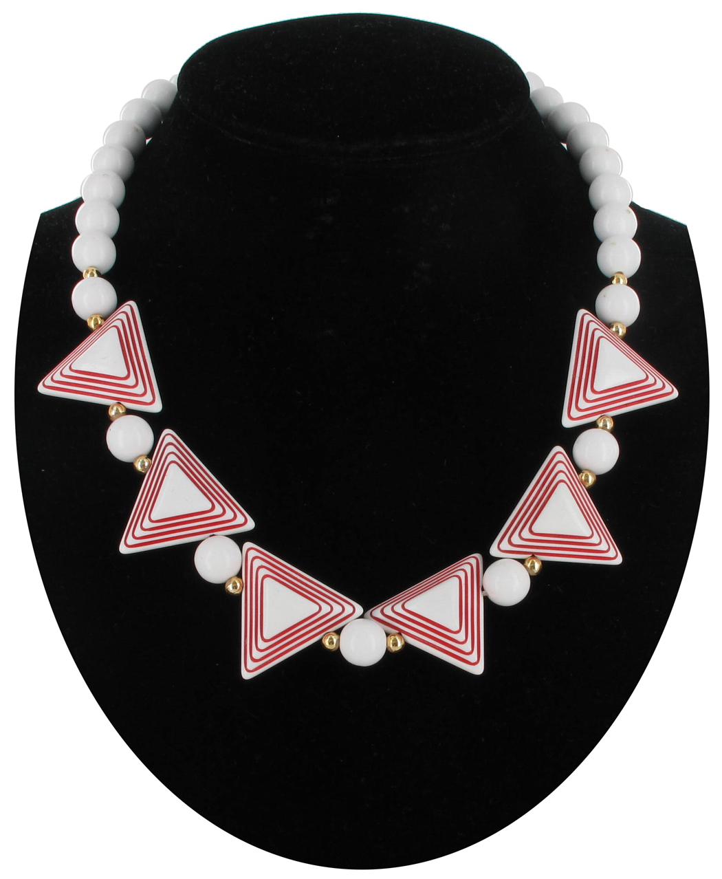 Vintage 1970S White Red Triangle Beaded Lucite Necklace Choker