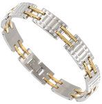 "Rochet Mens Bracelet Stainless Steel Technogold Ridged Chain Link 8.75"" Thumbnail 1"