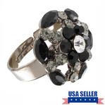 Cocktail Ring Black Clear Rhinestone Adjustable Ladies Jewelry