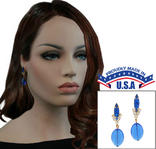Casa Bella USA Pierced Earrings Vintage Rhinestone Navette Glass Dangle Blue Thumbnail 1