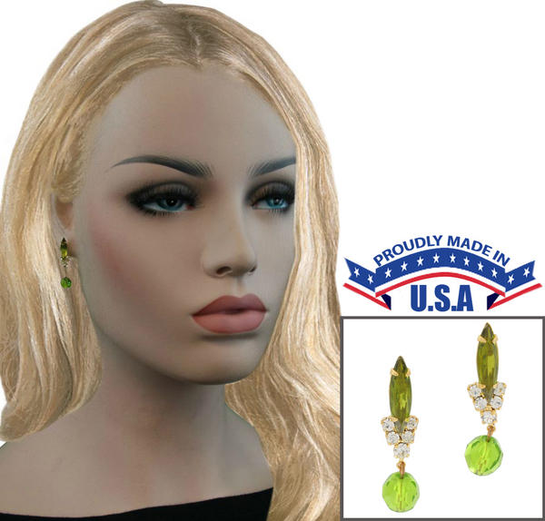 Casa Bella USA Pierced Earrings Vintage Rhinestone Navette Crystal Dangle Green