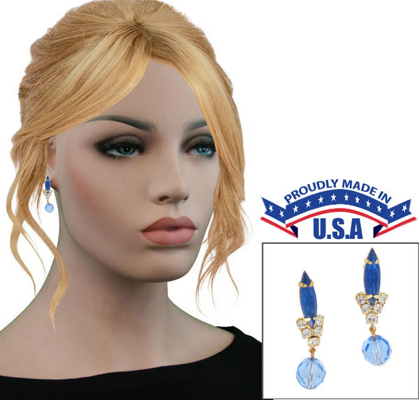 Casa Bella USA Pierced Earrings Vintage Rhinestone Navette Crystal Dangle Blue