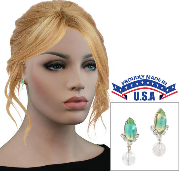 Casa Bella USA Earrings Vintage Rhinestone Crystal Dangle Iridscent Green Clear