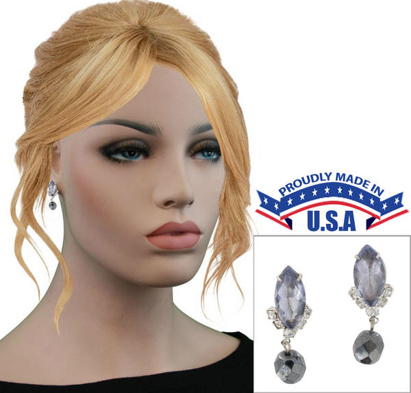 Casa Bella USA Pierced Earrings Vintage Rhinestone Crystal Dangle Hematite