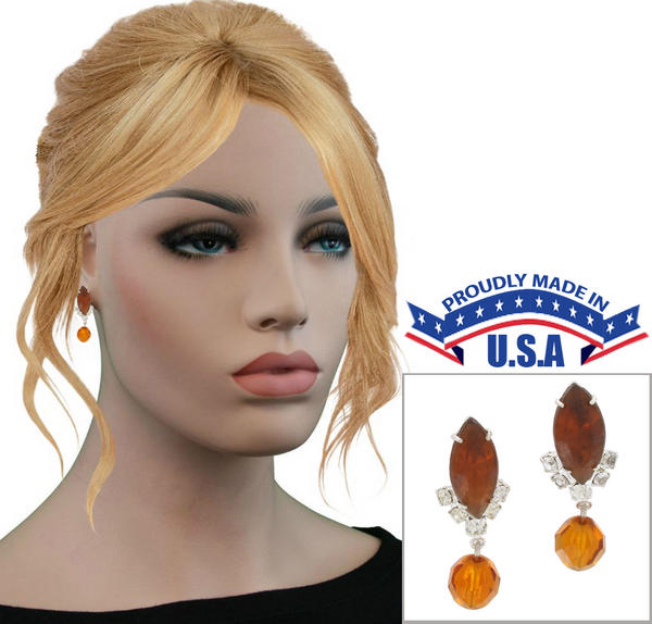 Casa Bella USA Pierced Earrings Vintage Rhinestone Crystal Dangle Topaz Amber
