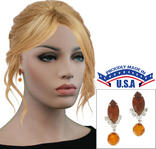 Casa Bella USA Pierced Earrings Vintage Rhinestone Crystal Dangle Topaz Amber Thumbnail 1