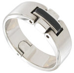 Rochet Ring Stainless Steel Black Accent Acier Mens Size 12