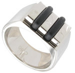 Rochet Ring Stainless Steel Black Accent Mens Size 9