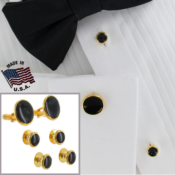 Mens Tuxedo Set Cufflinks Shirt Studs Circle Black Gold Tone Round