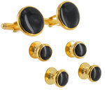 Mens Tuxedo Set Cufflinks Shirt Studs Circle Black Gold Tone Round Thumbnail 3