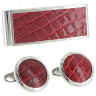 Hadley Roma Cufflinks Money Clip Set Genuine Alligator Stainless Steel Red