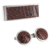Hadley Roma Cufflinks Money Clip Set Genuine Alligator Stainless Steel Brown