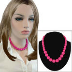 Necklace Choker Graduated Lucite Beaded Hot Pink 16""