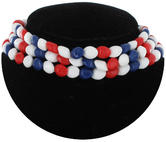 Vintage Beaded Tight 3 Row Choker Necklace Plastic Red White Blue 4th of July