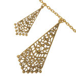 Ky & Co Fringe Statement Necklace Floral Filigree Antiqued Gold Tone Thumbnail 3