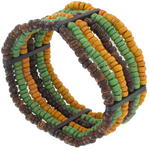 Bracelet Wood Beaded Brown Yellow Green Tribal Multi Strand Stretch