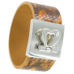 Genuine Leather Heart Cuff Bracelet Snake Grain Wrap Animal Print Thumbnail 1