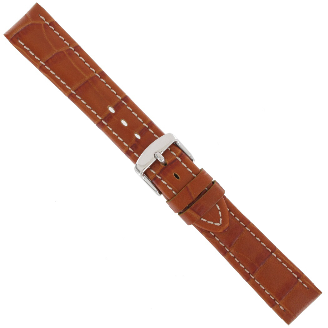 Hadley Roma MS895 18mm Tan Alligator Grain Stitched Calfskin Leather Watchband