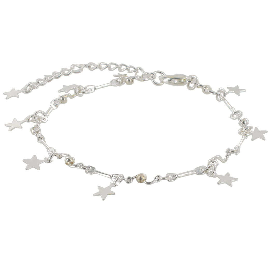 Charm Bracelet Silver Tone Chain Link Tiny Star Charms Fits Most Also Large Sz