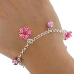 Charm Bracelet Silver Tone Chain Pink Flower Fits Most Including Large Sizes Thumbnail 3