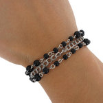 Beaded Bracelet Silver Tone Chain Black Bead 3 Strand Fits Most Inc Large Sizes