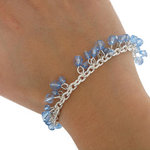 Charm Bracelet Silver Tone Faux Crsytal Blue Bead Fits Most Cluding Large Sizes Thumbnail 2