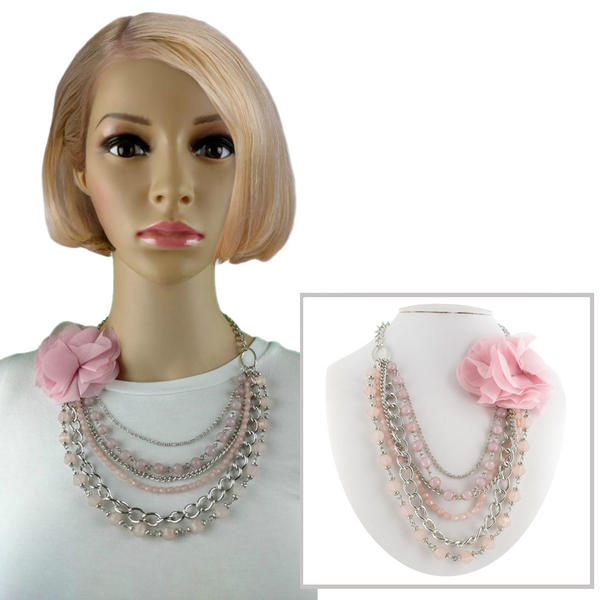 Statement Pink Flower Silver Tone Chain Multi Strand Necklace