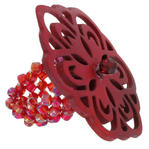 Burgundy Red Painted Carved Oversized Flower Statement Ring