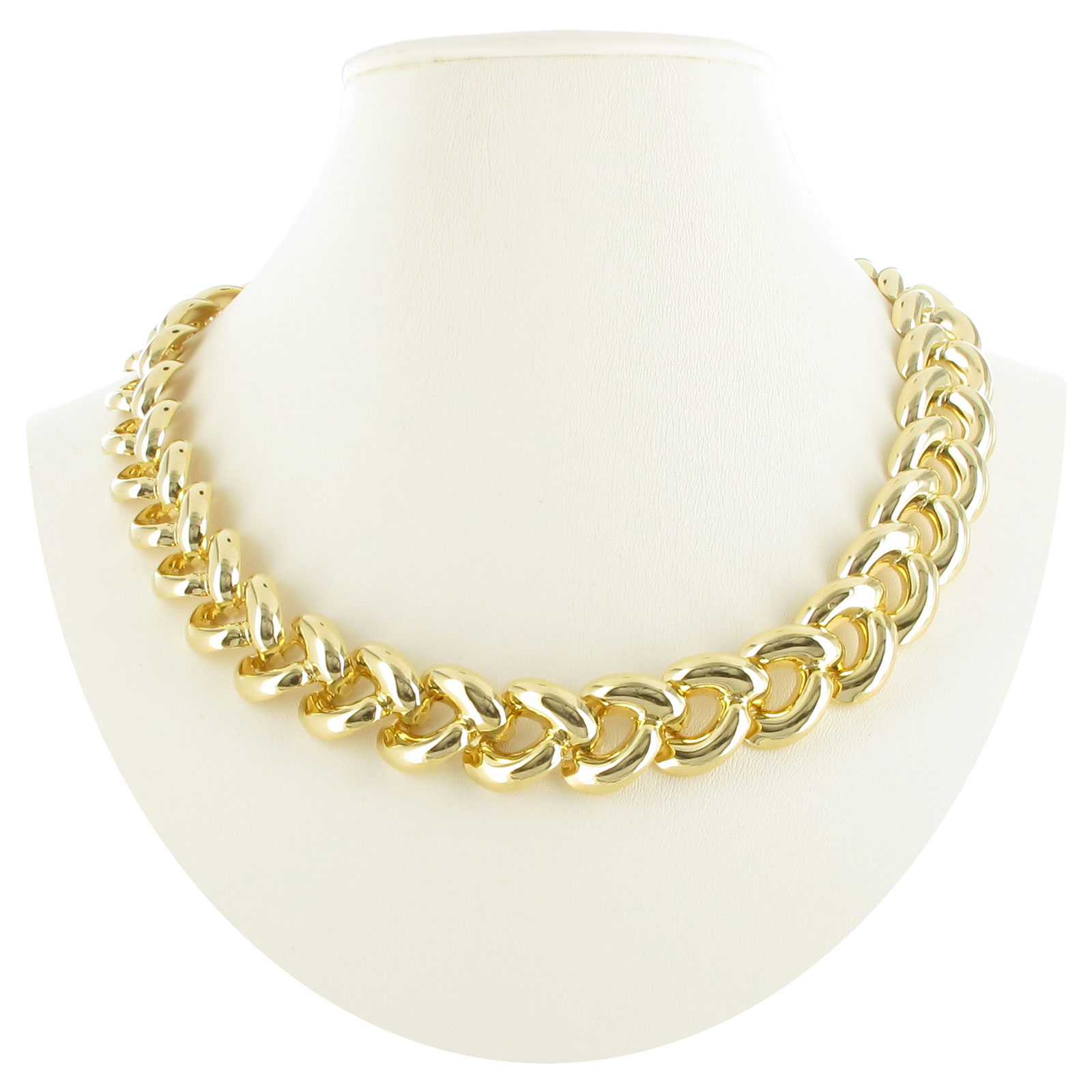 Vintage Gold Tone Chunky Curved Curb Link Collar Choker