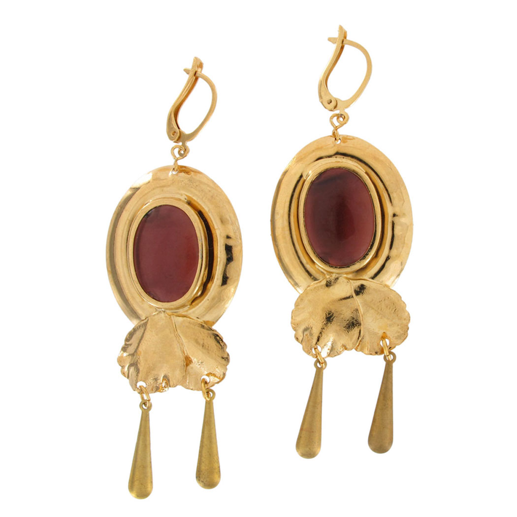 Vintage Leverback Earrings Italy Large Gold Tone Purple